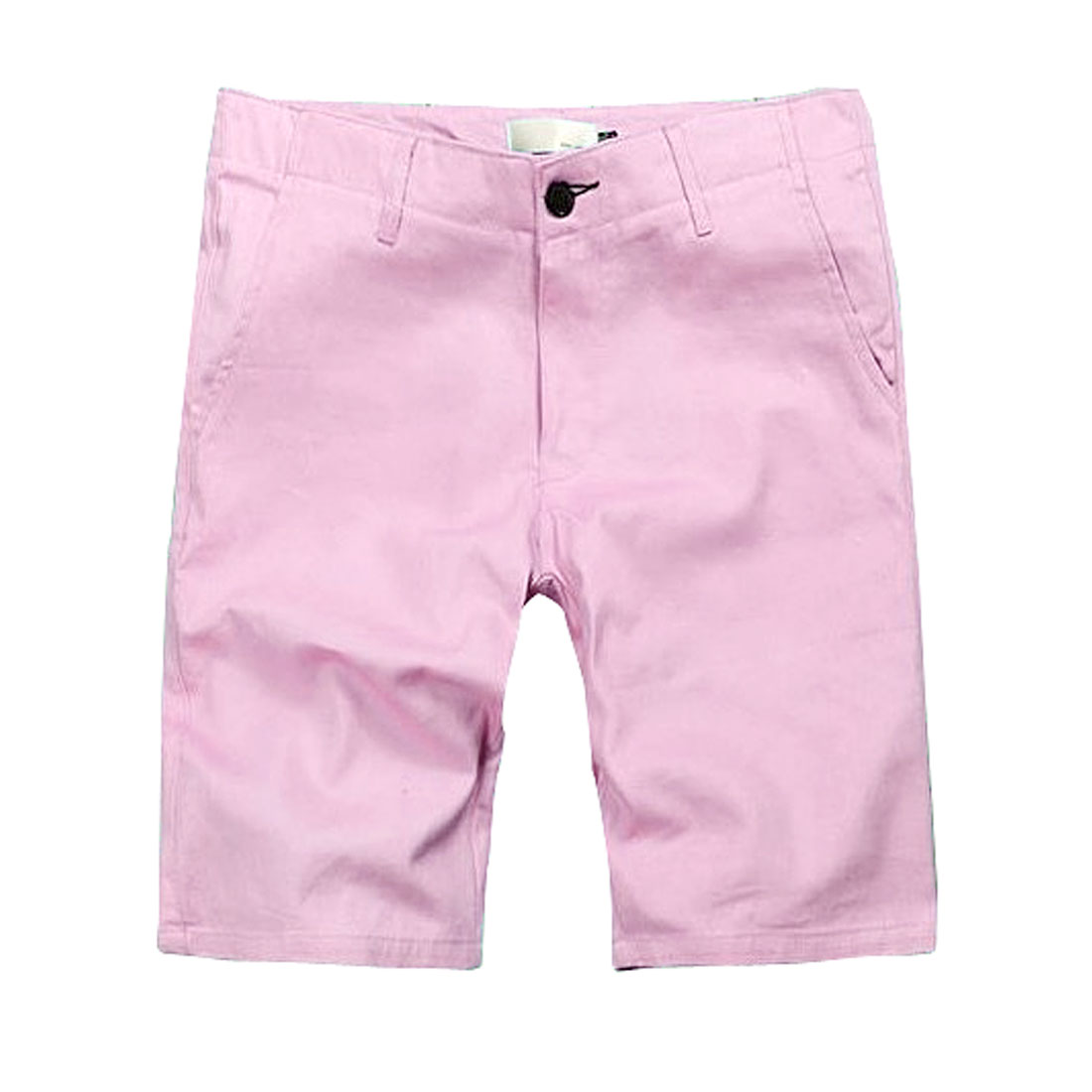 Man Candy Pink Hip Patch Pockets Button Closure Knee Length Pants W32