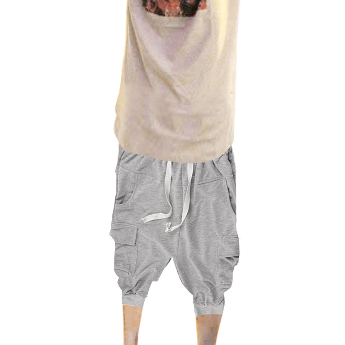 Slanting Pockets Stretchy Waist Casual Five Harem Pants Gray W29 for Men