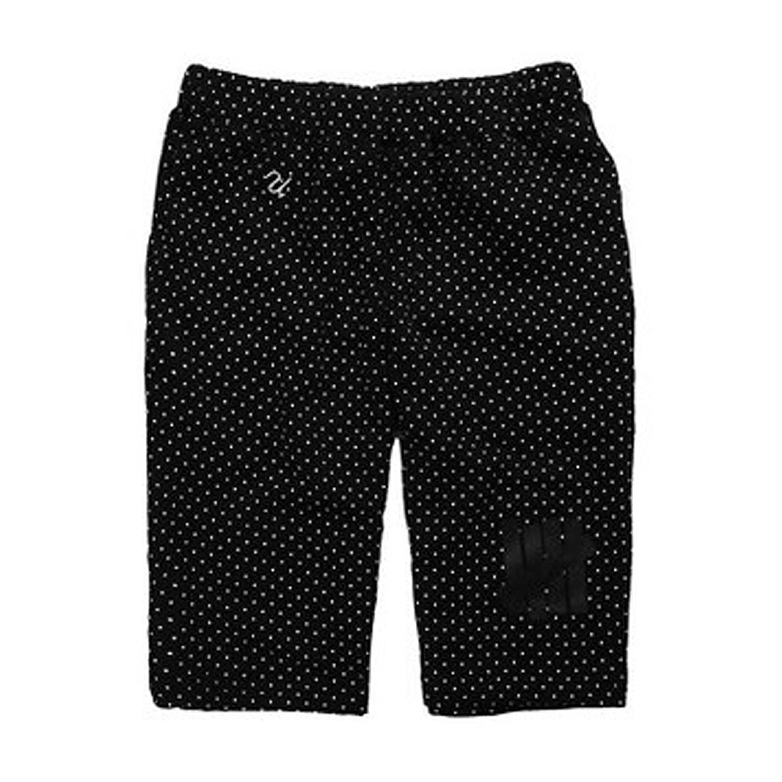 Fashional Elastic Waist Mini Dots Print Knee Length Pants Black W32 for Men