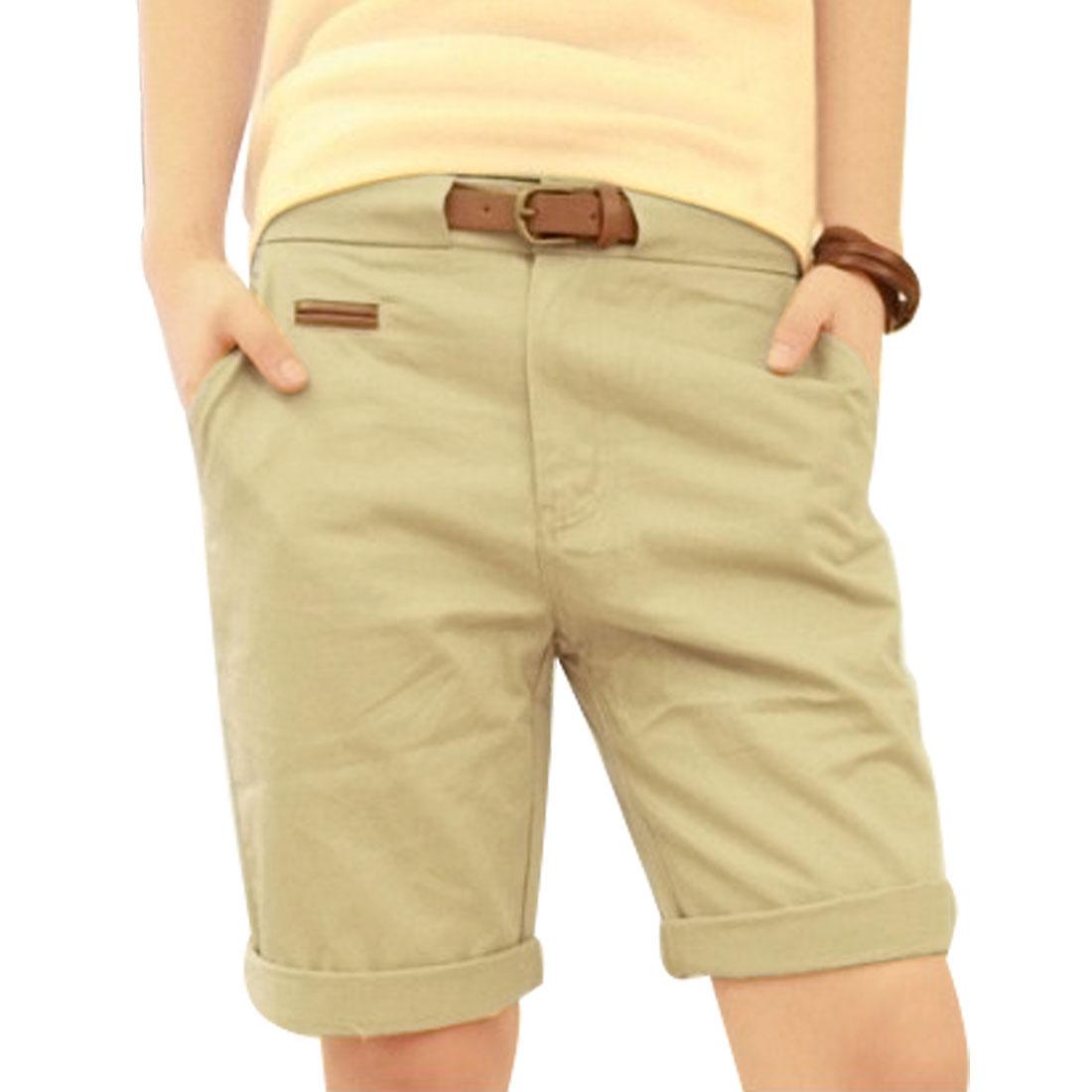 Men Fashional Slanting Pockets Front Knee Length Pants Khaki W28 + Waist Belt