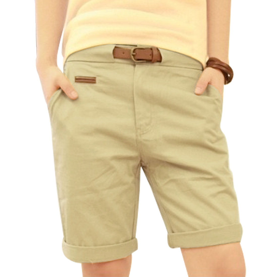 Man Korea Style One Button Zip Fly Knee Length Trousers Khaki W32 + Waist Belt