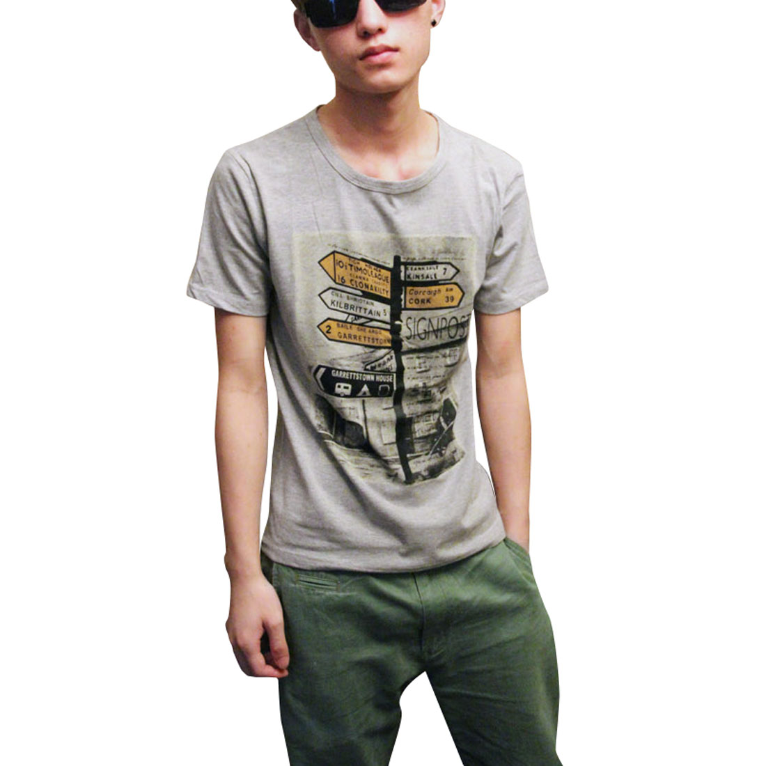 Stylish Road Direction Board Pattern Leisure T-Shirt Gray S for Men