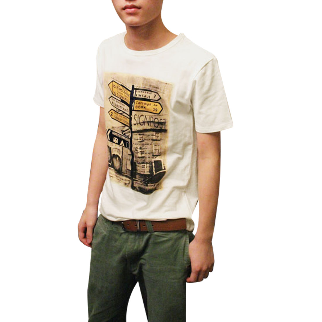 Stylish Road Direction Board Pattern Leisure T-Shirt White S for Men