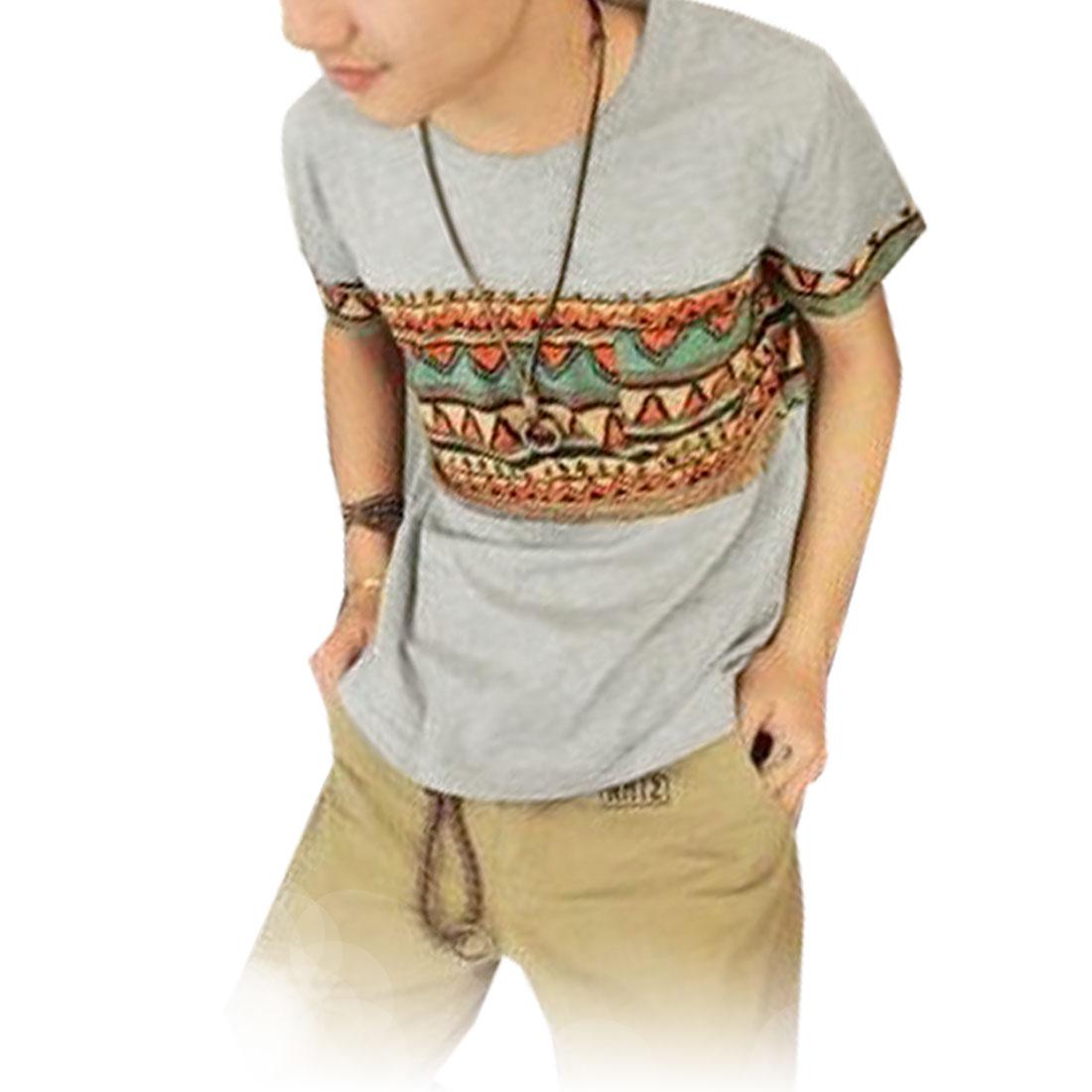 Stylish National Style Zigzag Pattern T-Shirt Gray S for Men
