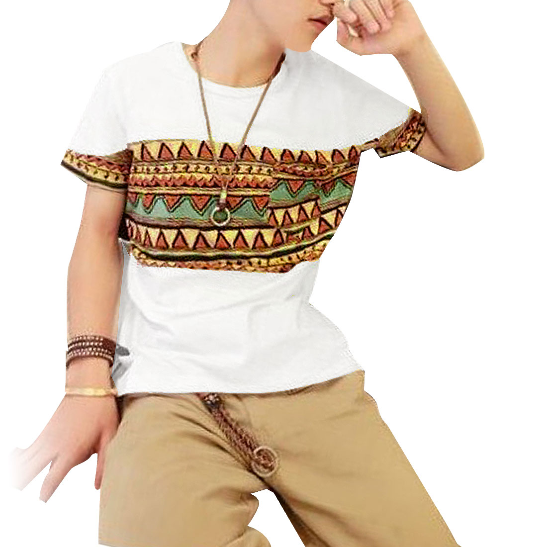 Round Neck Short Sleeves Zigzag Pattern Casual T-Shirt White S for Men
