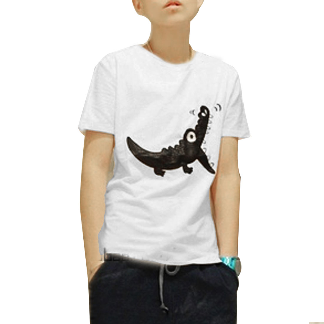 Men Short Sleeves Embroidery Crocodile Pattern Leisure T-Shirt White S
