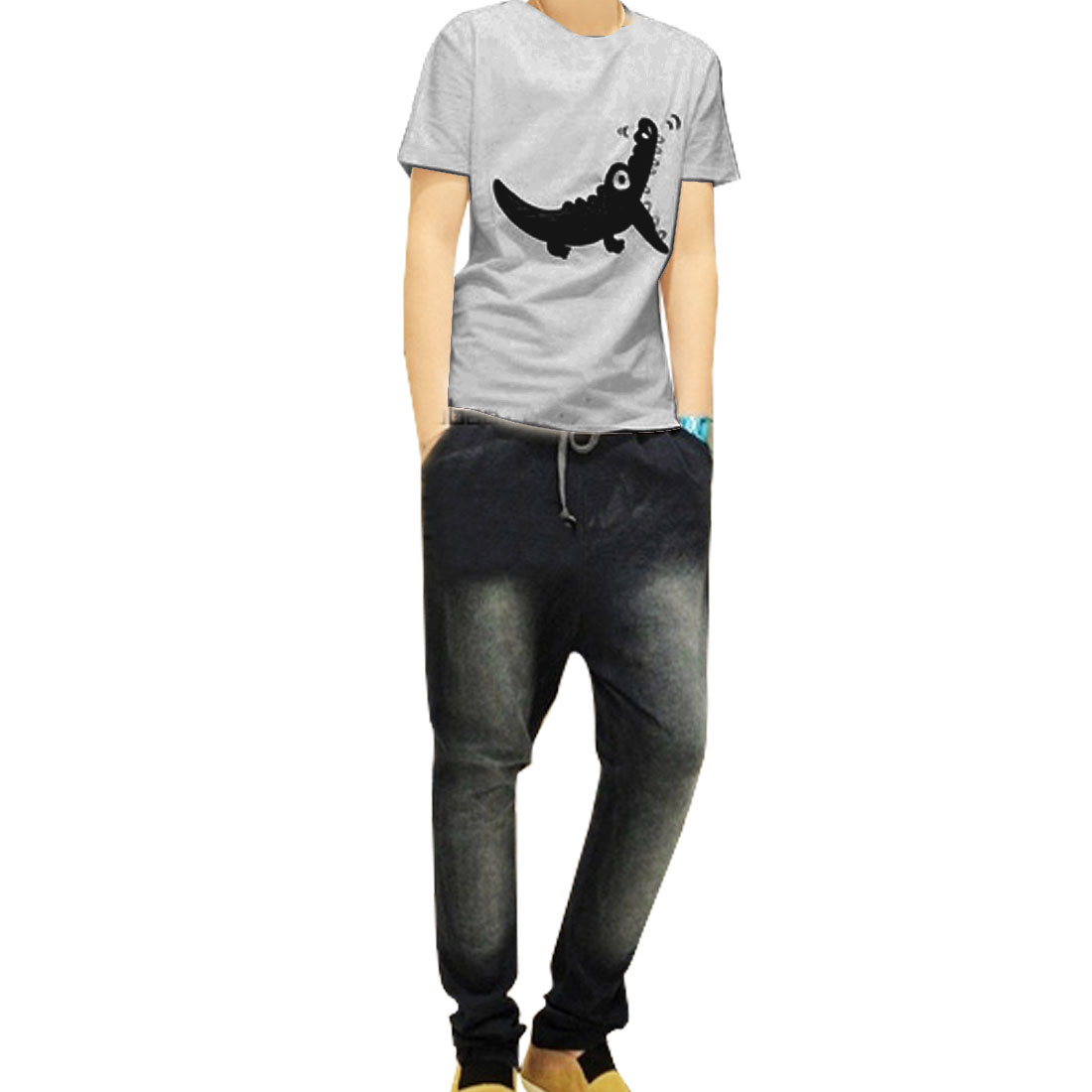 Short Sleeves Summer Leisure T-Shirt Blouse Gray S for Men