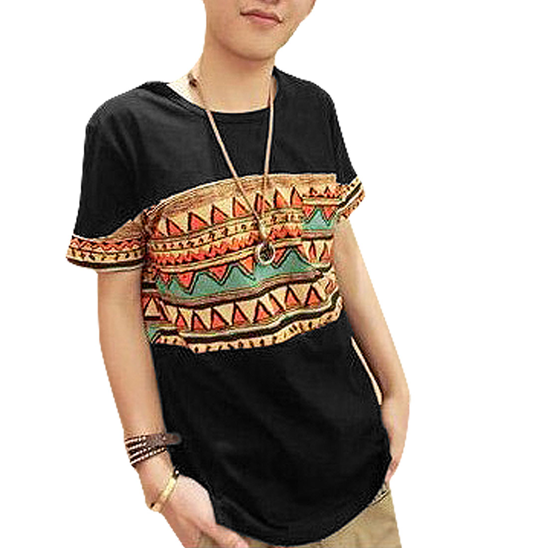 Fashional National Style Zigzag Printed Casual T-Shirt Black S for Man