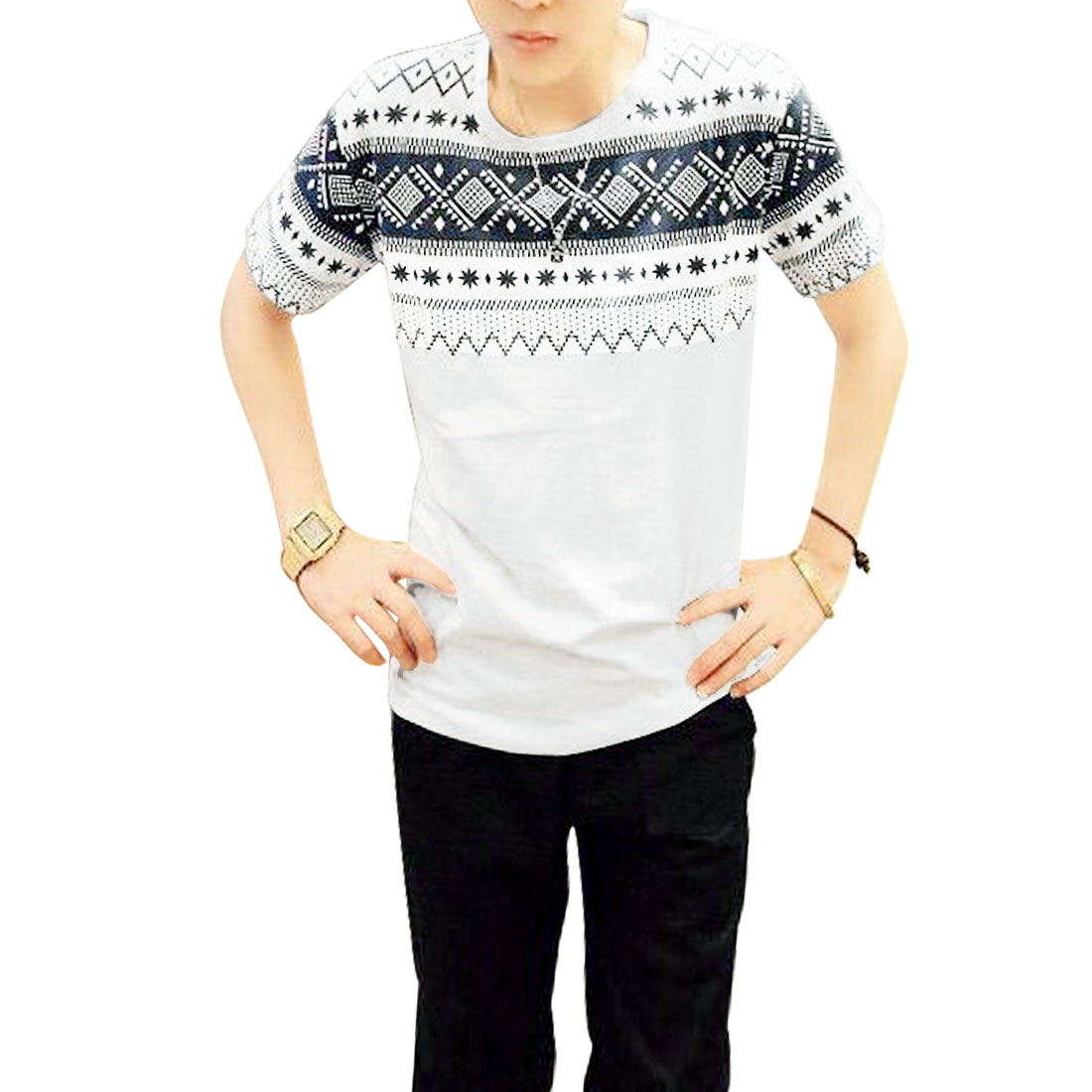 Navy Blue Jacquard Pattern Round Neck Leisure T-Shirt White S for Men