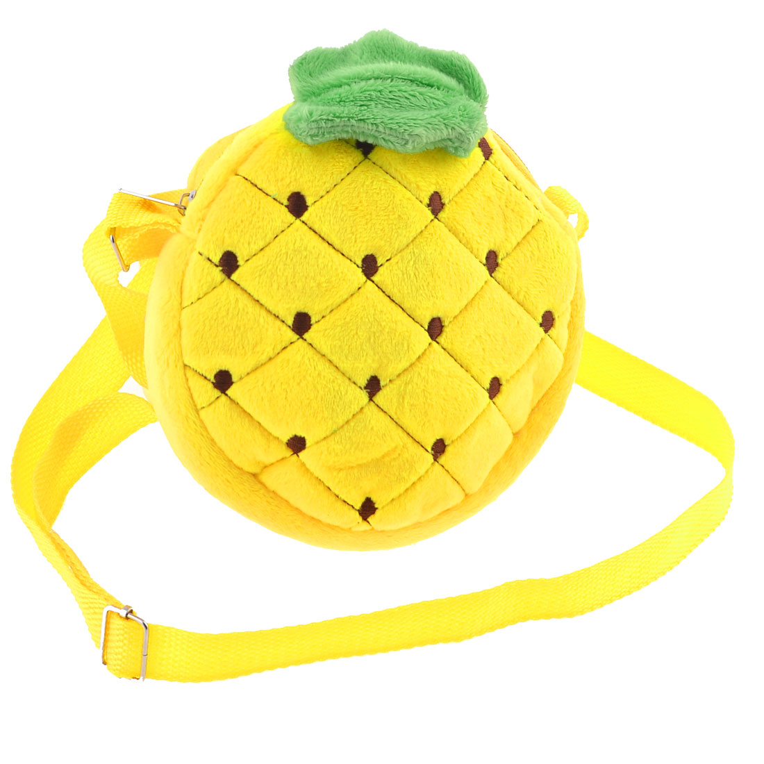 Lady Pineapple Pattern Zipper Closure Fluffy Mini Adjustable Shoulder Strap Bag