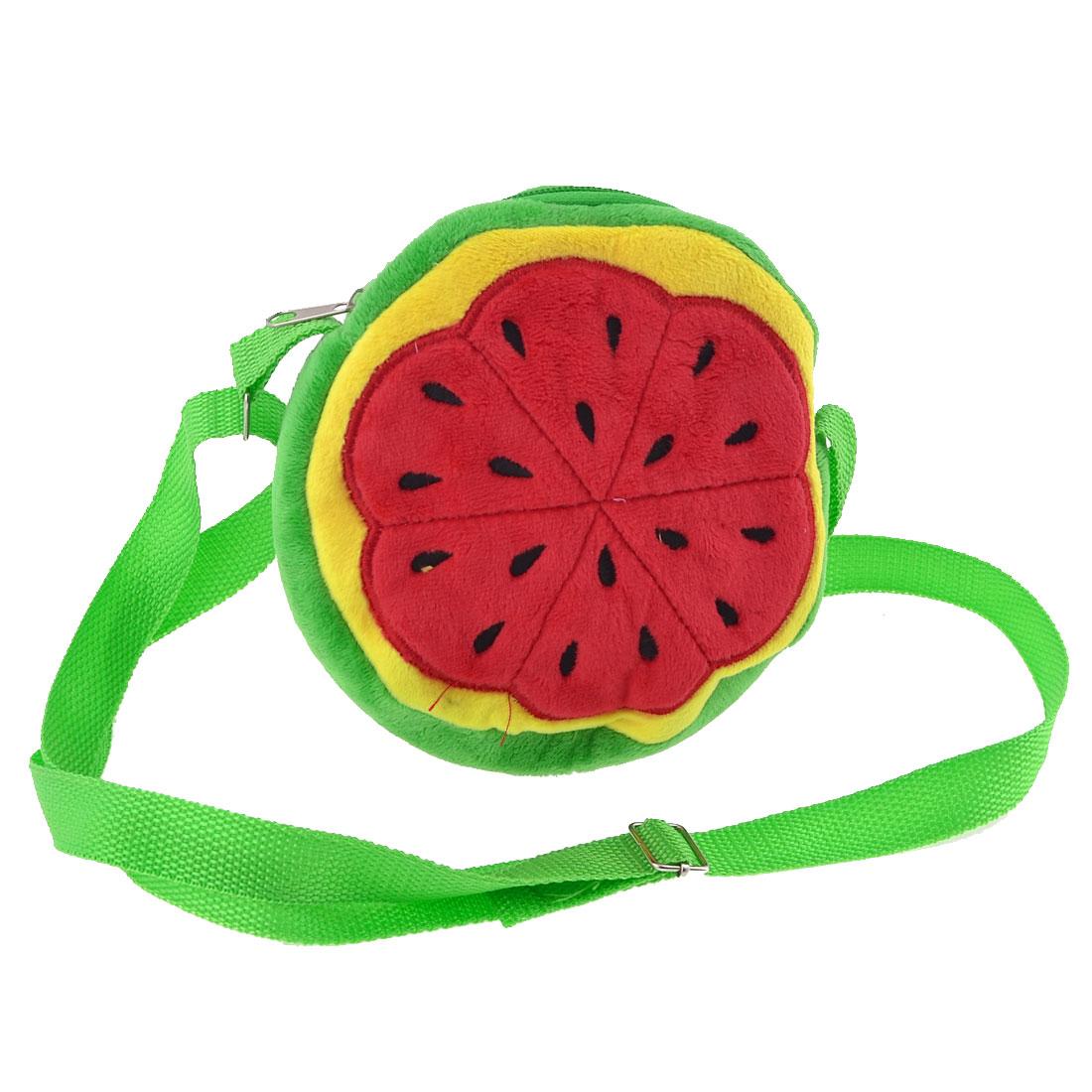 Lady Watermelon Pulp Pattern Fluffy Mini Adjustable Shoulder Strap Bag