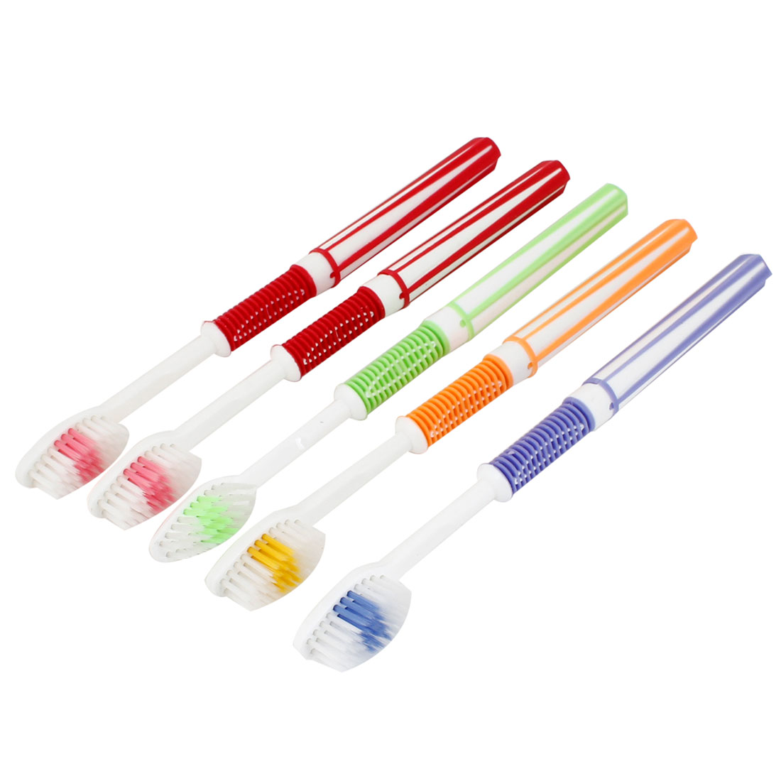 5 Pcs Assorted Color Plastic Soft Bristle Brush Head Toothbrush