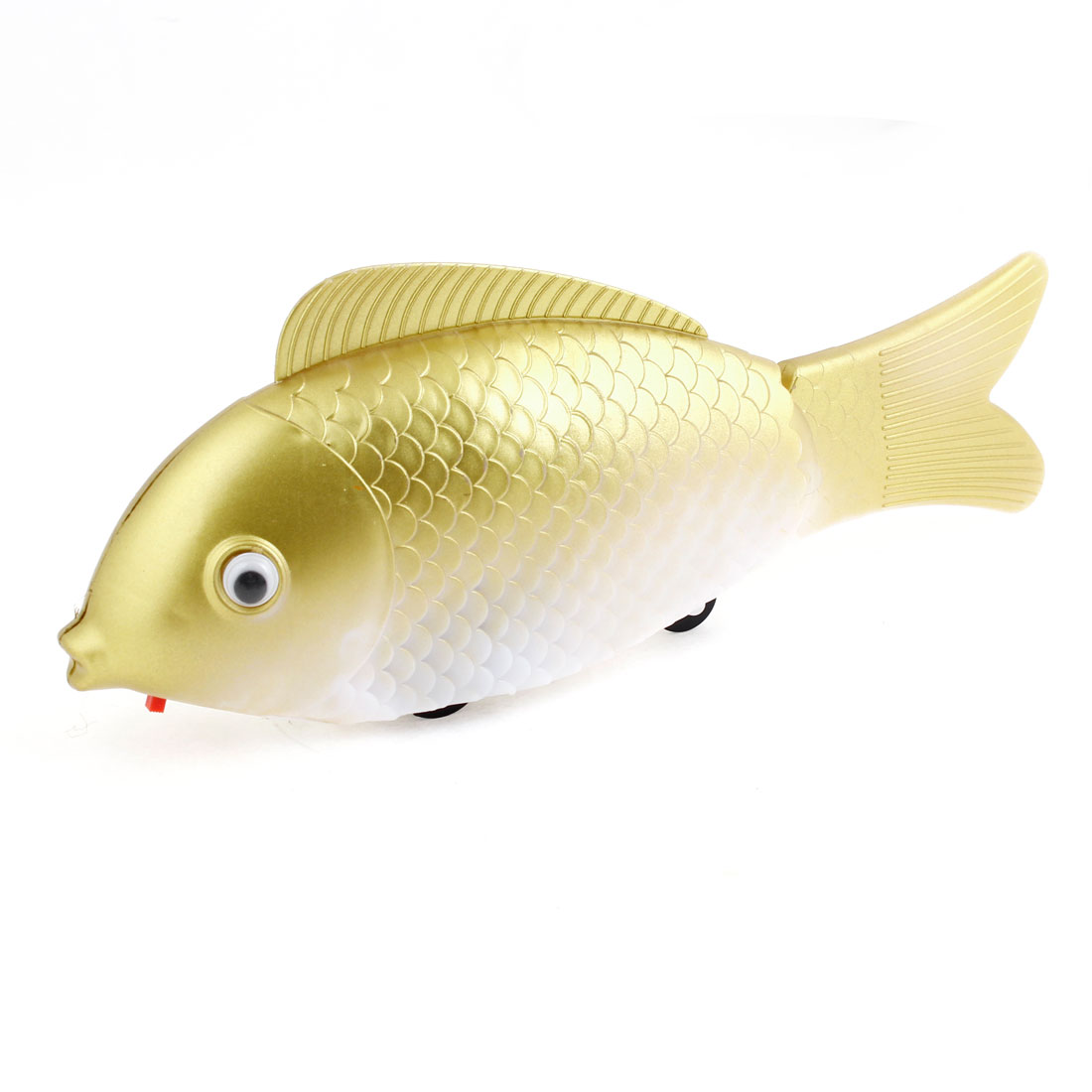 Children Gold Tone White Plastic Fish Design Moving Toy