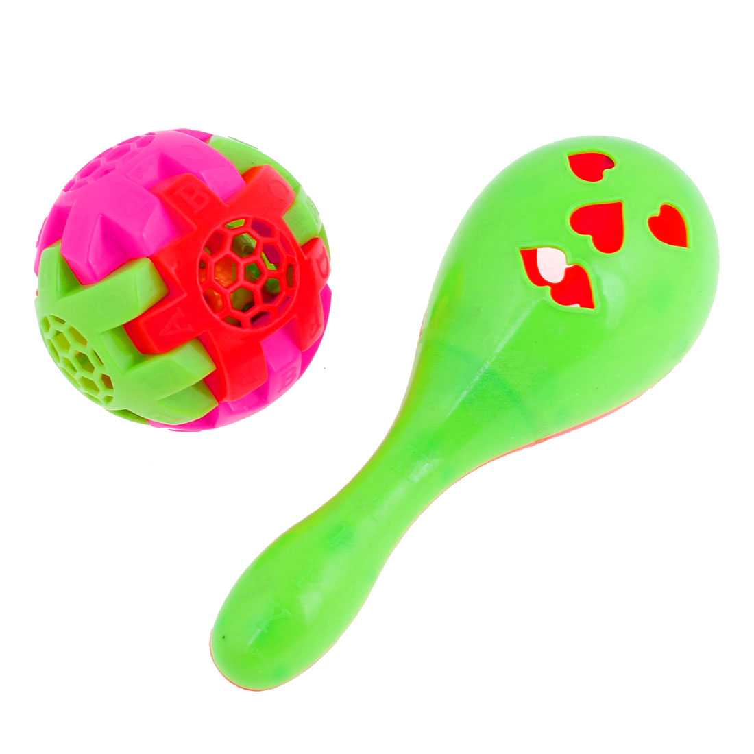 Baby Colorful Whistle Design Calabash Ball Shape Hand Shaking Bell Toy 2 Pcs