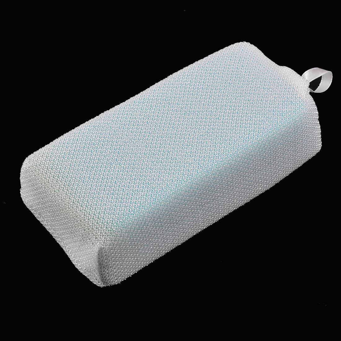 Kitchen Absorbent White Blue Rectangle Mesh Sponge Pad