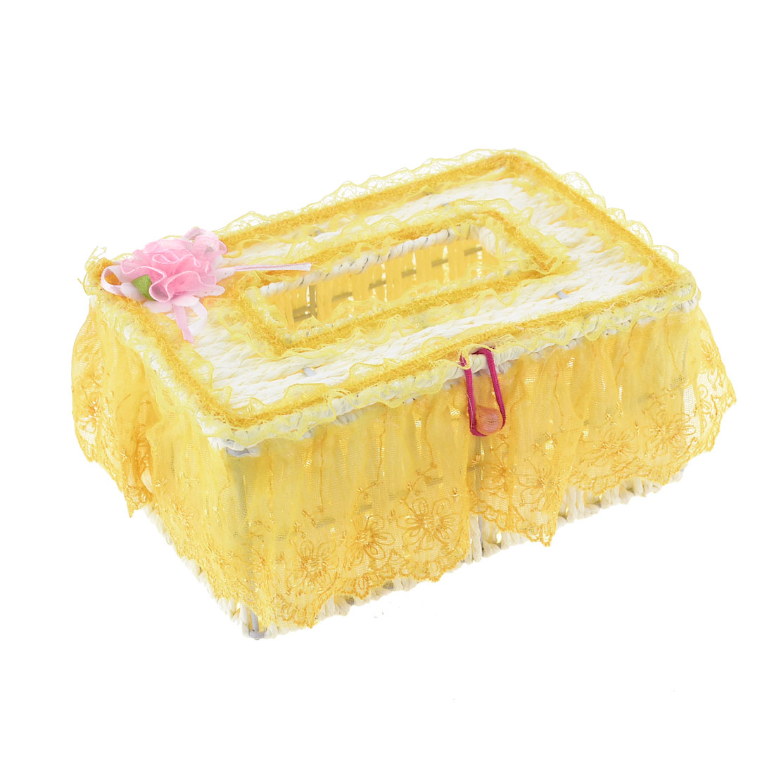 Gold Tone Lace Decor White Rectangle Woven Pattern Tissue Storage Case