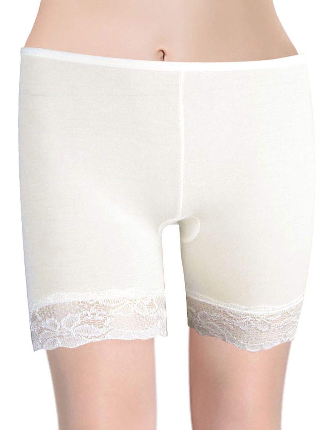 Elastic Waistband Low Rise Skinny Safety Shorts White XS for Woman