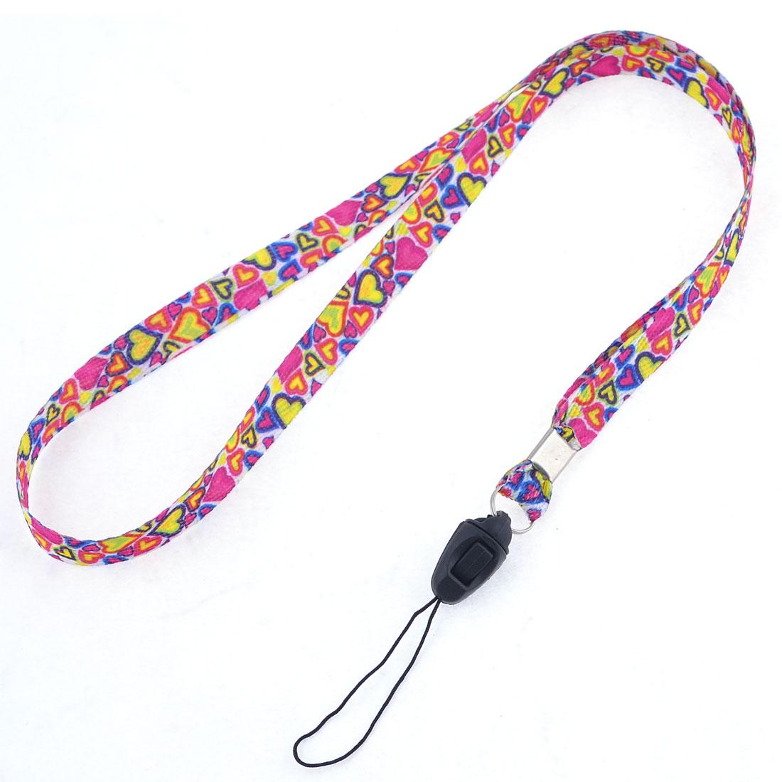 Colorful Heart Shape Pattern Nylon Multipurpose Neck Lanyard