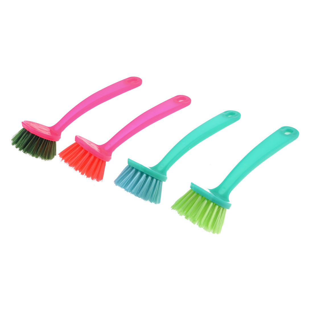 Plastic Handle Round Bristle Head Kitchen Pot Cleaning Scrubbing Brush
