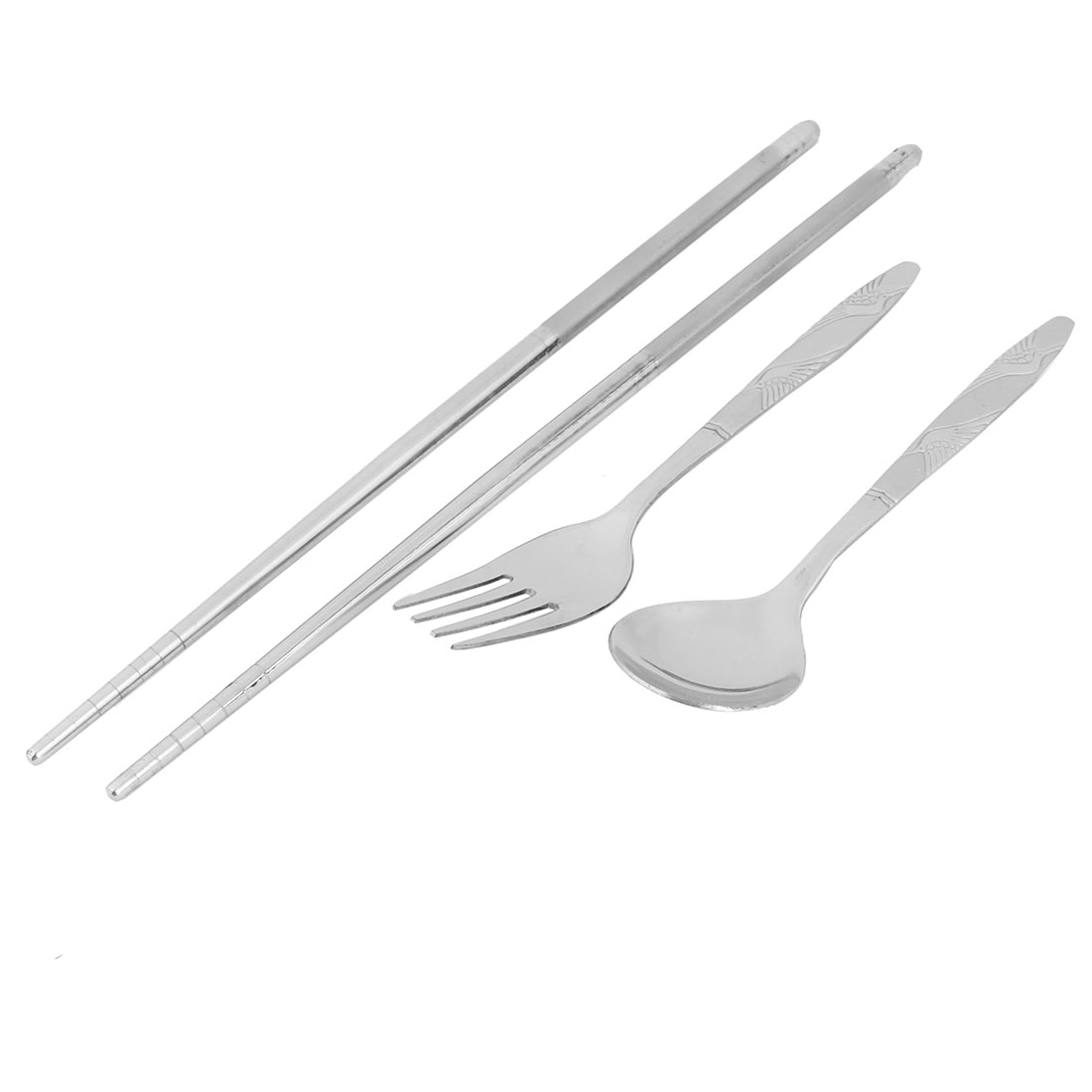 Silver Tone Stainless Steel Tableware Chopsticks Spoon Fork Cutlery Set