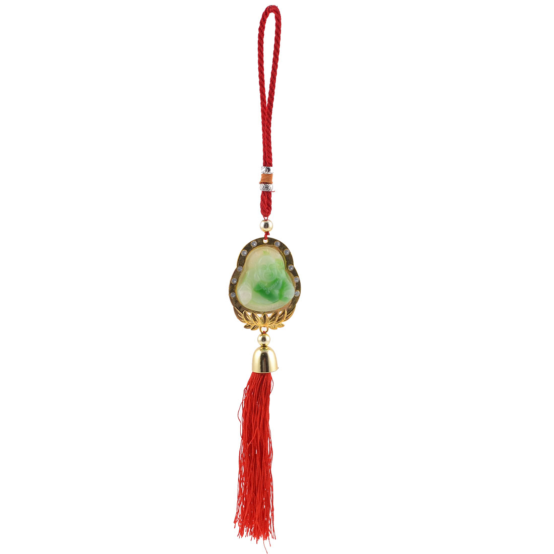Chinese Knot Oriental Ornament Buddha Faux Jade Hang Pendant