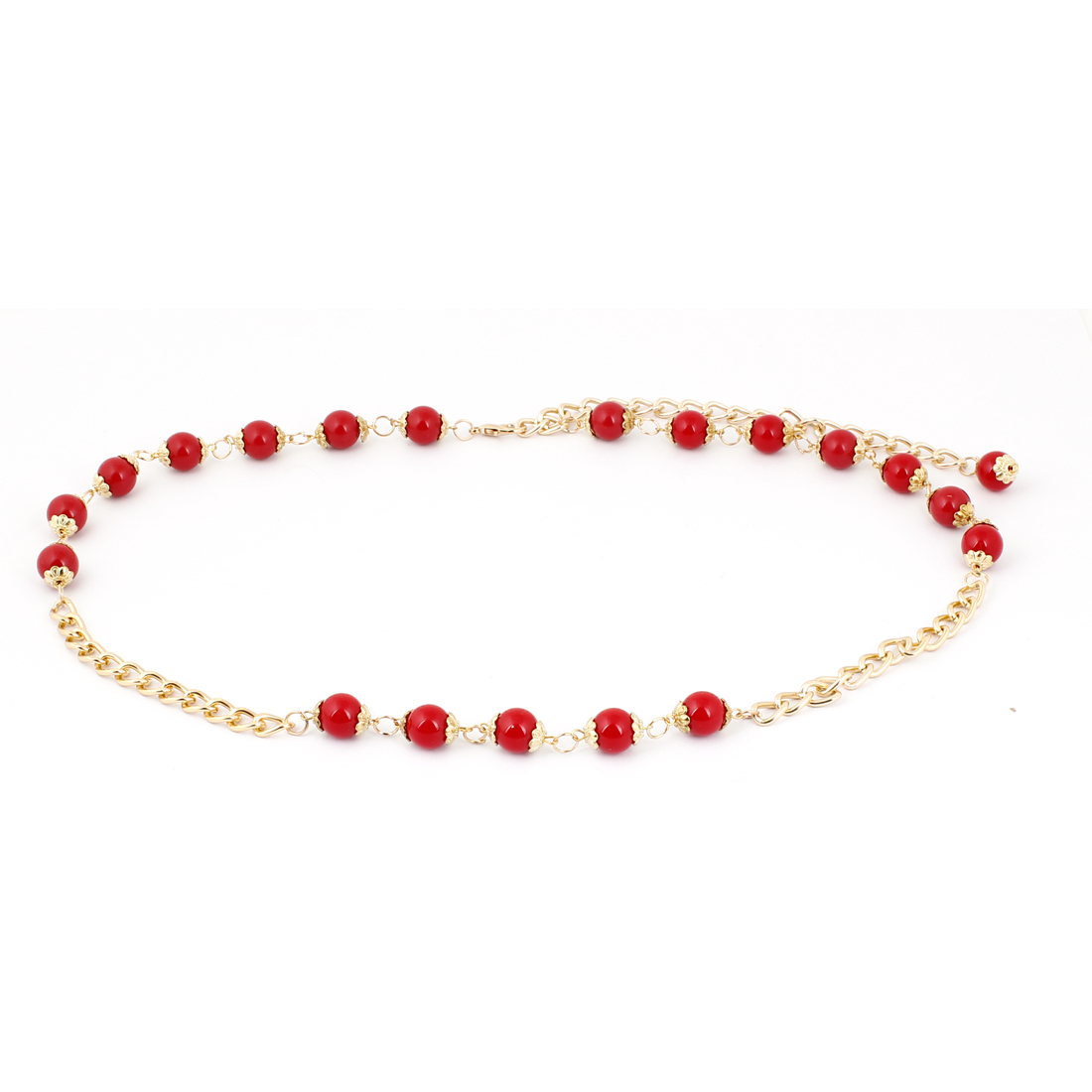 Lady Red Gold Tone Lobster Clasp Beaded Metallic Chain Cinch Waist Belt