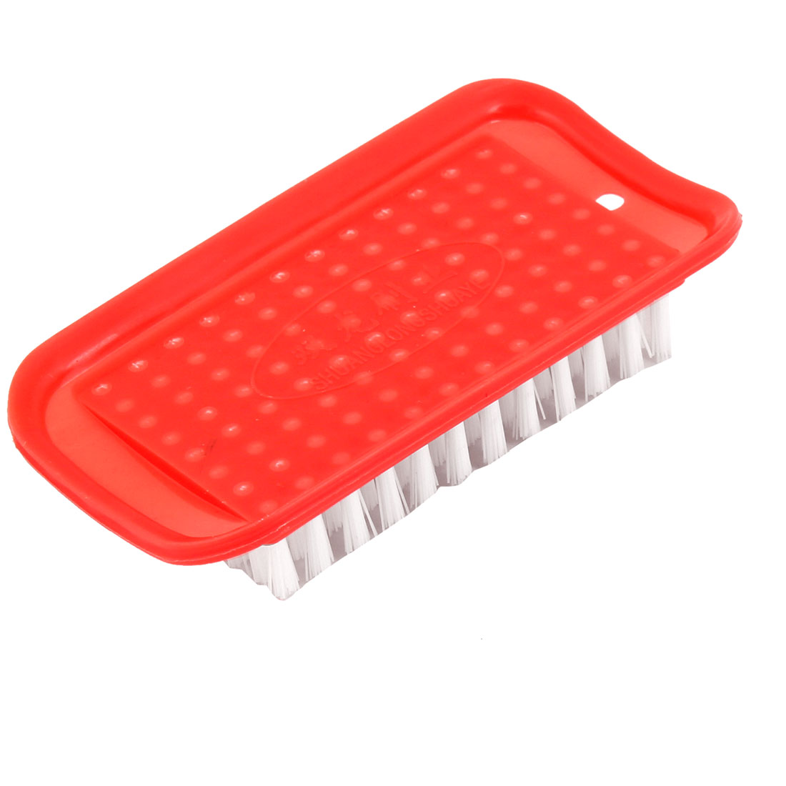 Salmon Pink Rectangle Shaped Plastic Household Laundry Brush