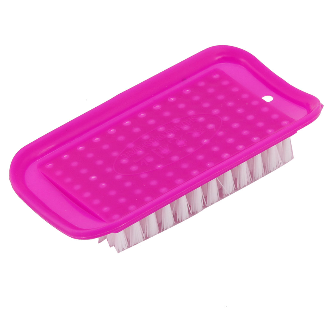 Fuchsia Rectangle Shaped Plastic Household Laundry Brush