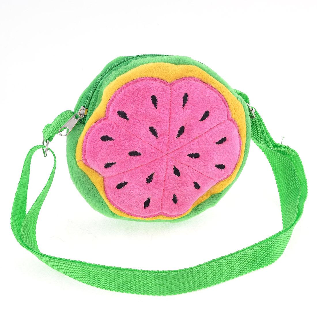 Lady Round Fruit Pattern Zipper Closure Fluffy Mini Adjustable Shoulder Strap Bag