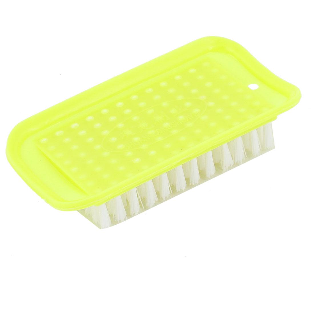 Yellow Rectangle Shaped Plastic Household Laundry Brush