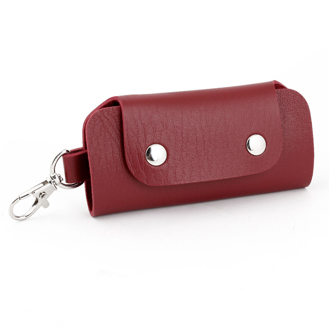 Dark Red Faux Leather Press Stud Button Rectangular Key Bag Holder