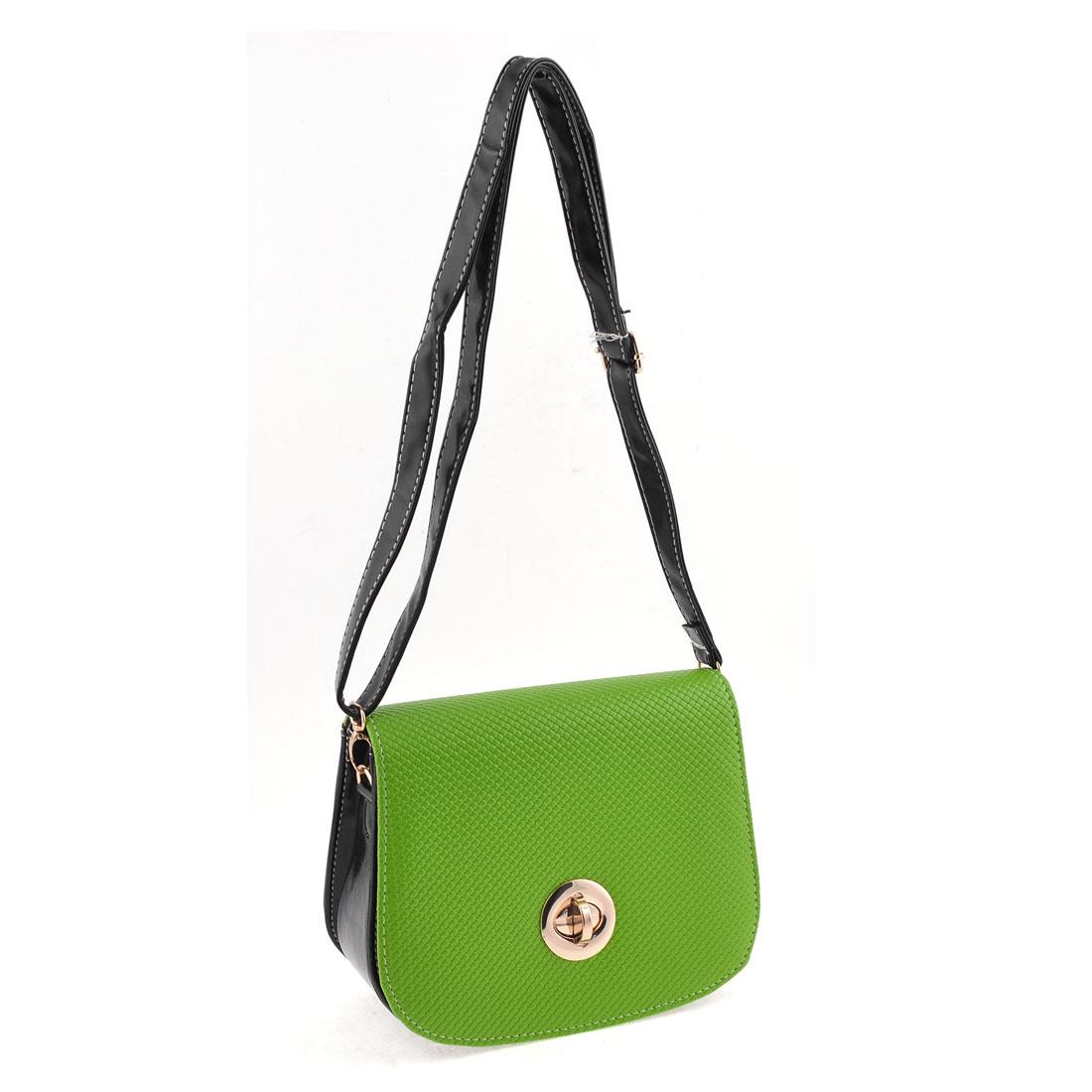 Women Retro Style Alligator Pattern Faux Leather Shoulder Bag Handbag Black Green
