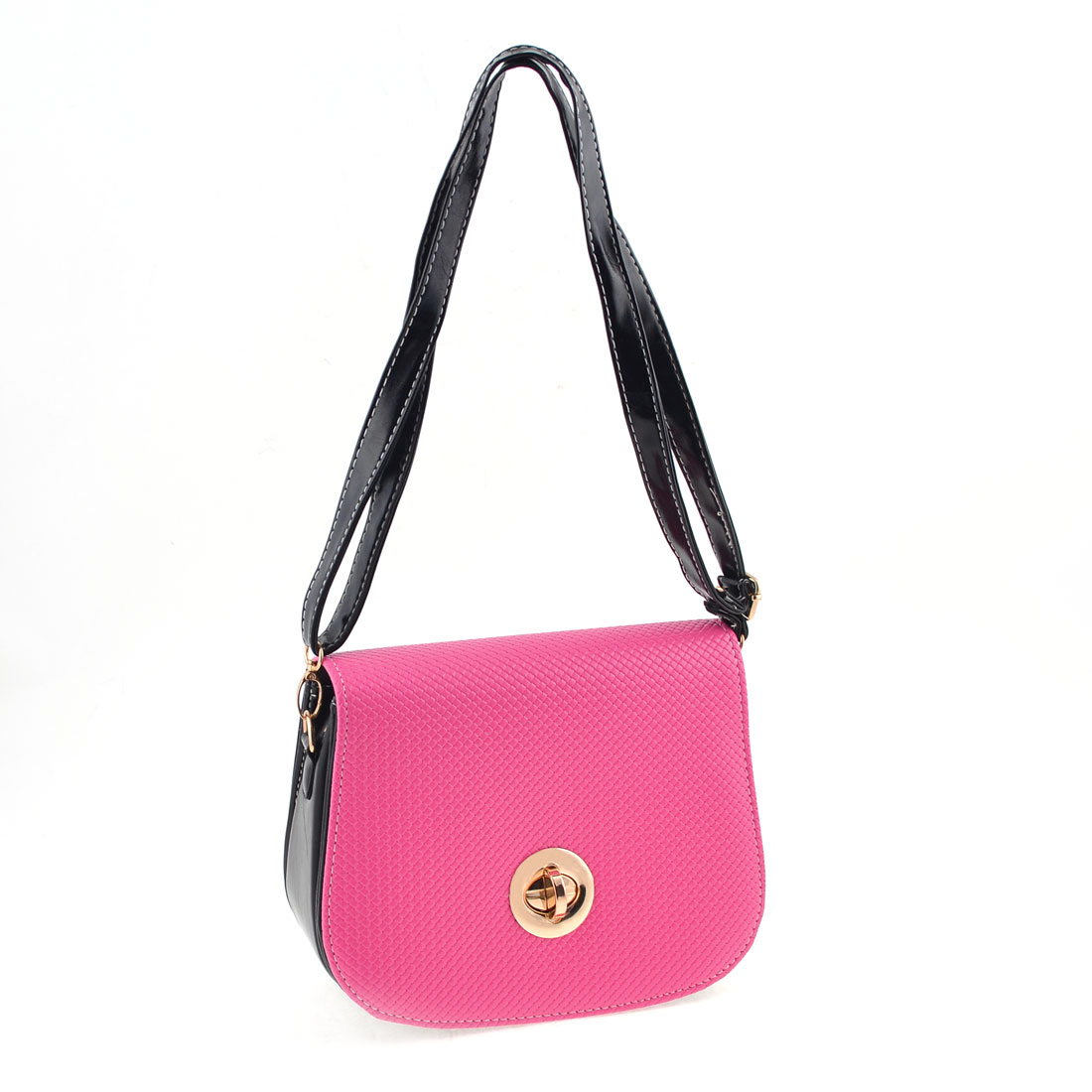 Lady Magnetic Flap Closure Alligator Pattern Shoulder Bag Handbag Fuchsia Black