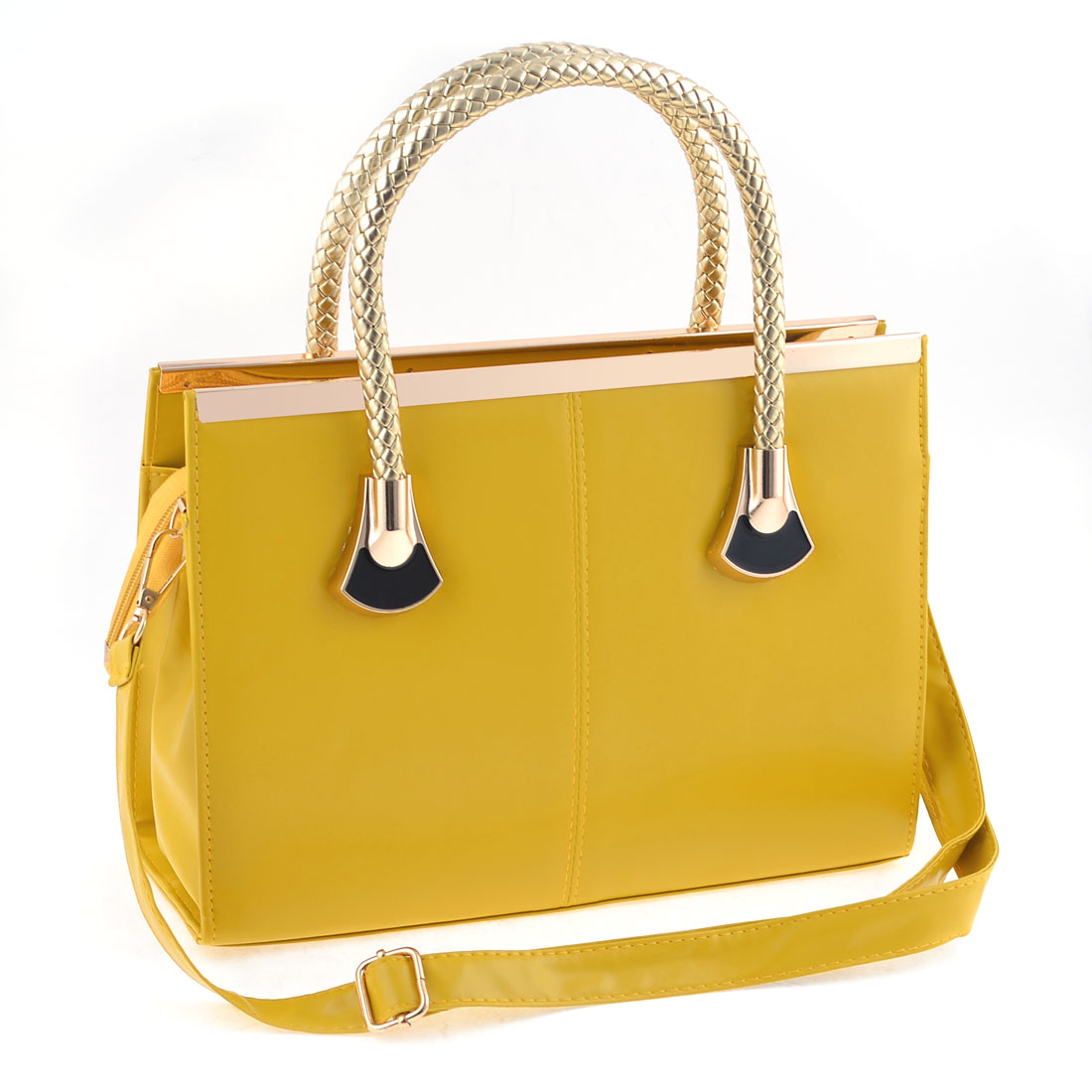 Yellow Faux Leather Zip Up Closure Retro Style Tote Bag Handbag for Women