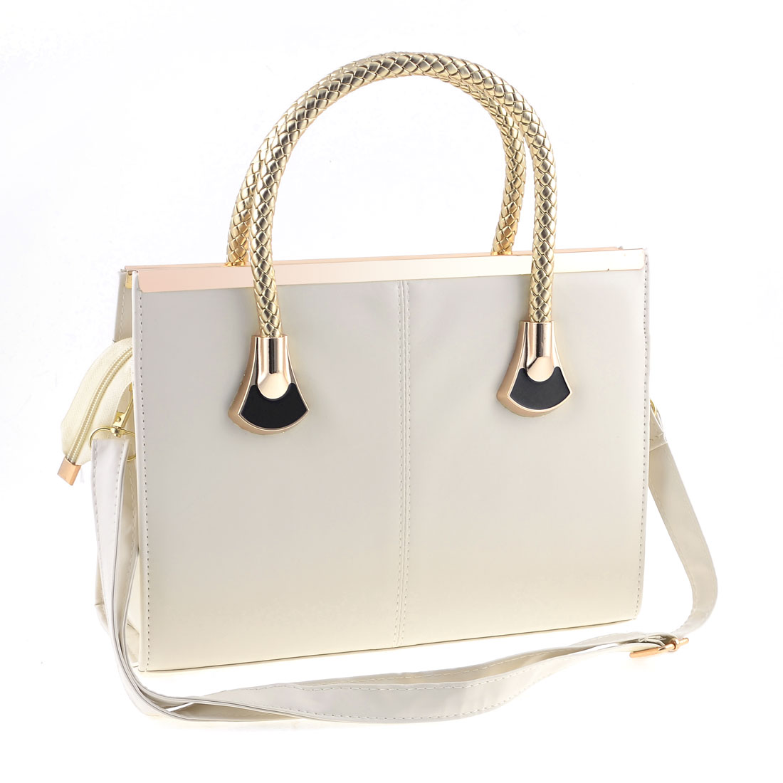 White Faux Leather Zip Up Closure Retro Style Tote Bag Handbag for Woman