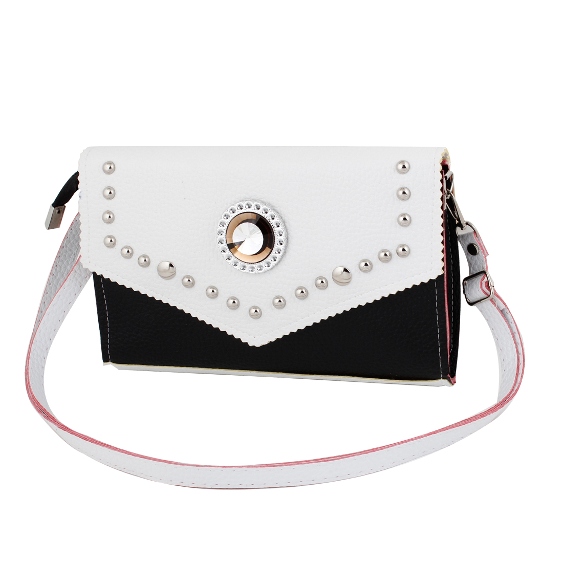 Lady White Black Faux Leather Glitter Rhinestone Decor Satchels