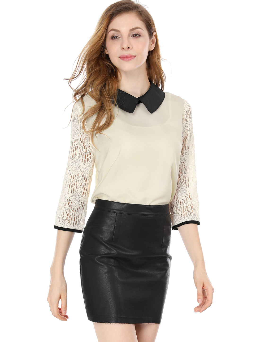 Women Stylish Peter Pan Collar Crochet Hollow Sleeve Beige Blouse L