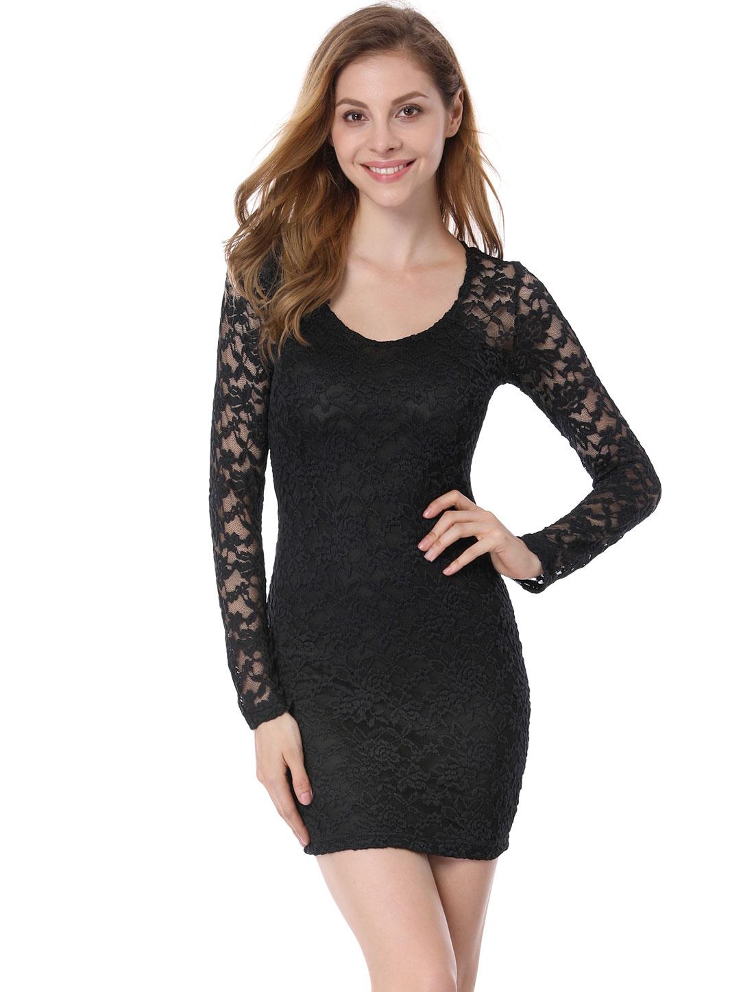Women Chic All Over Crochet Lace Design Slim Fit Black Mini Dress L