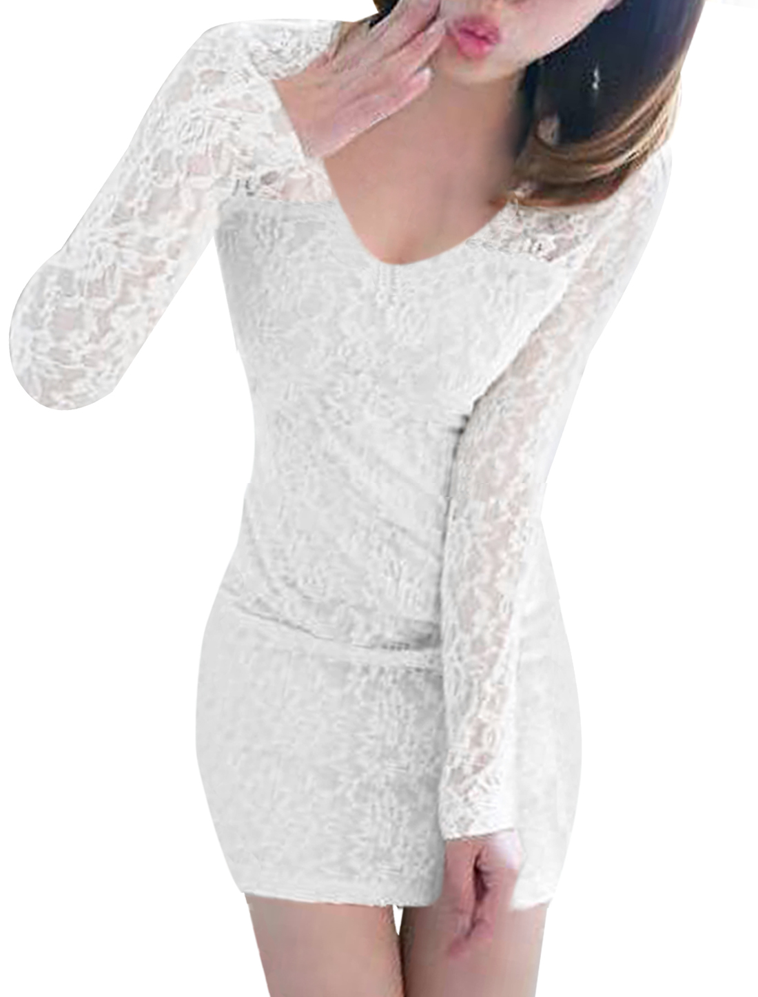 Ladies Pure White Color All Over Crochet Lace Design Mini Dress M
