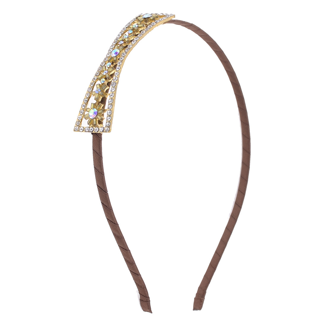 Rhinestone Detail Bowknot Adorn Arch Bridge Shape Metal Hair Hoop Brown