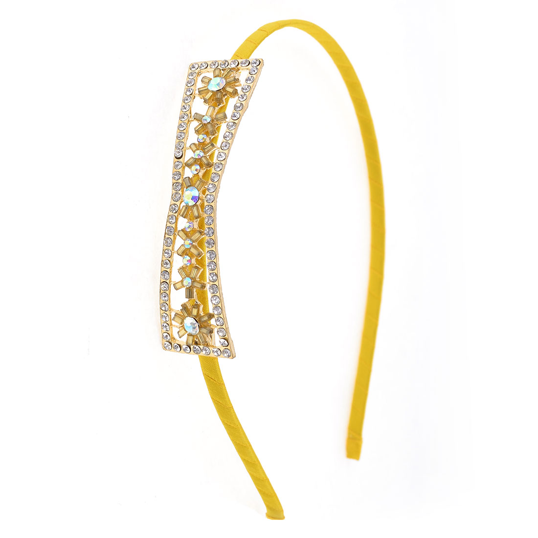 Rhinestone Inlaid Bowknot Decor Hair Hoop Yellow for Lady