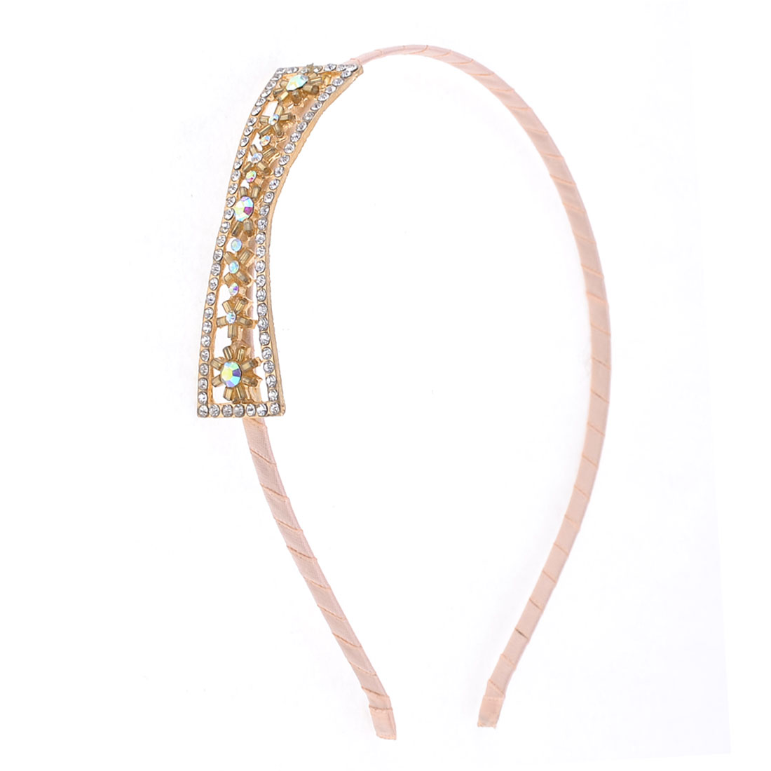 Ladies Rhinestone Detail Bowknot Decor Metal Headband Hair Hoop Light Pink