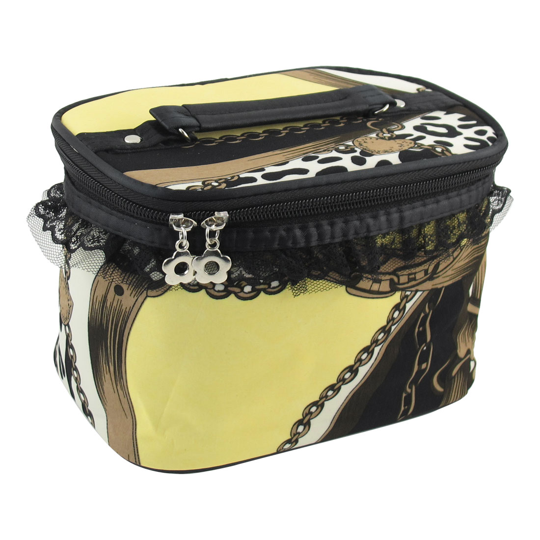 Leopard Print Pattern Zipper Closure Cosmetic Bag Case Yellow w Mirror