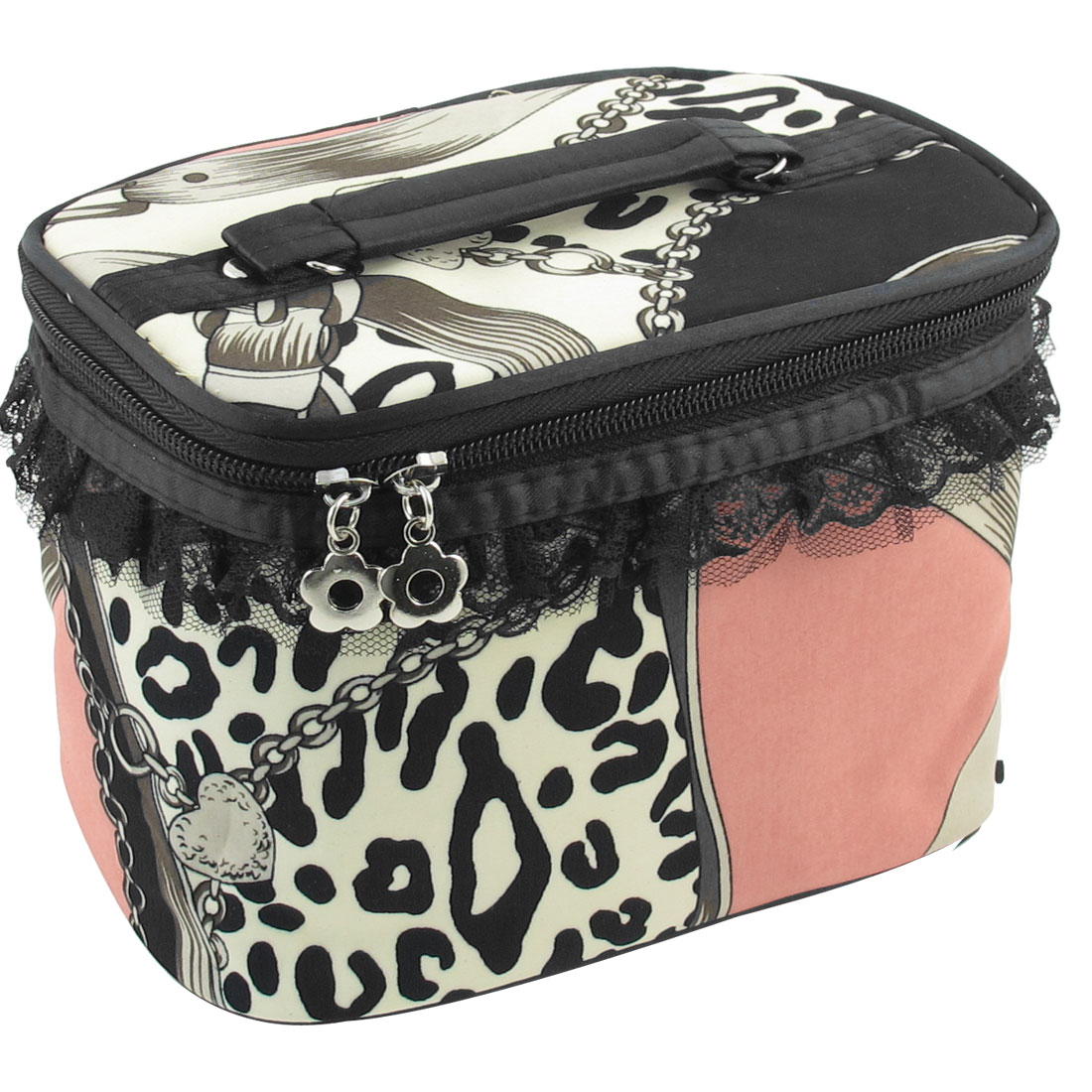 Muticolor Leopard Print Pattern Zipper Closure Cosmetic Bag Case