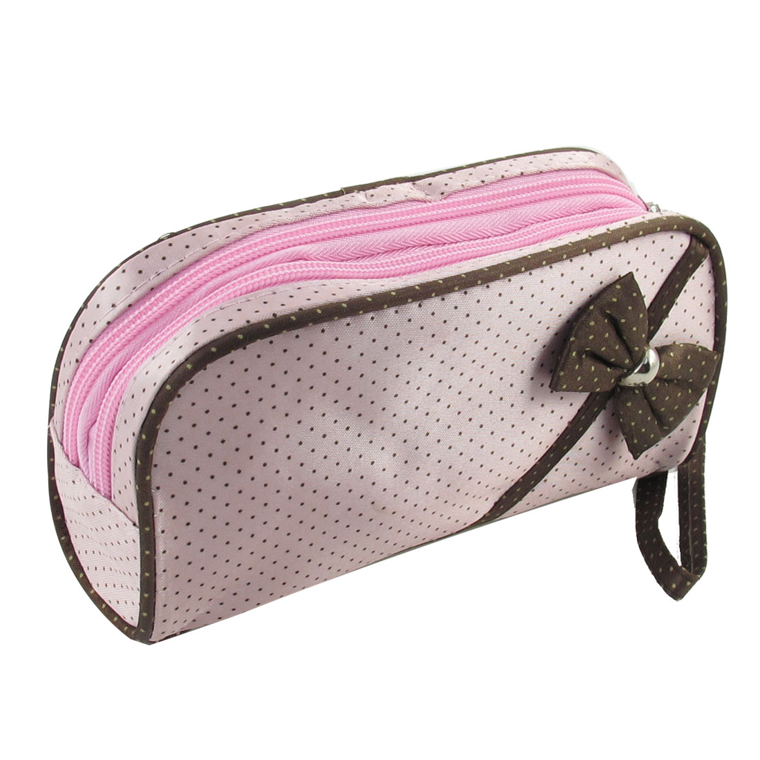 Dual Zipper Brown Bowknot Pattern Cosmetic Bag Makeup Purse Pink