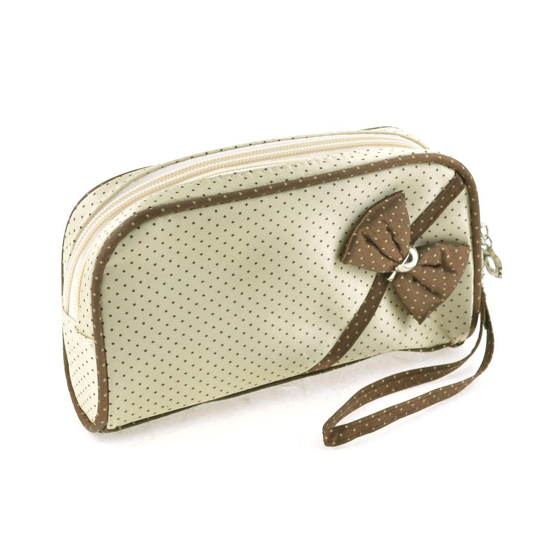 Ladies Light Beige Bowknot Decor Front Cosmetic Bag Zipper Makeup Purse