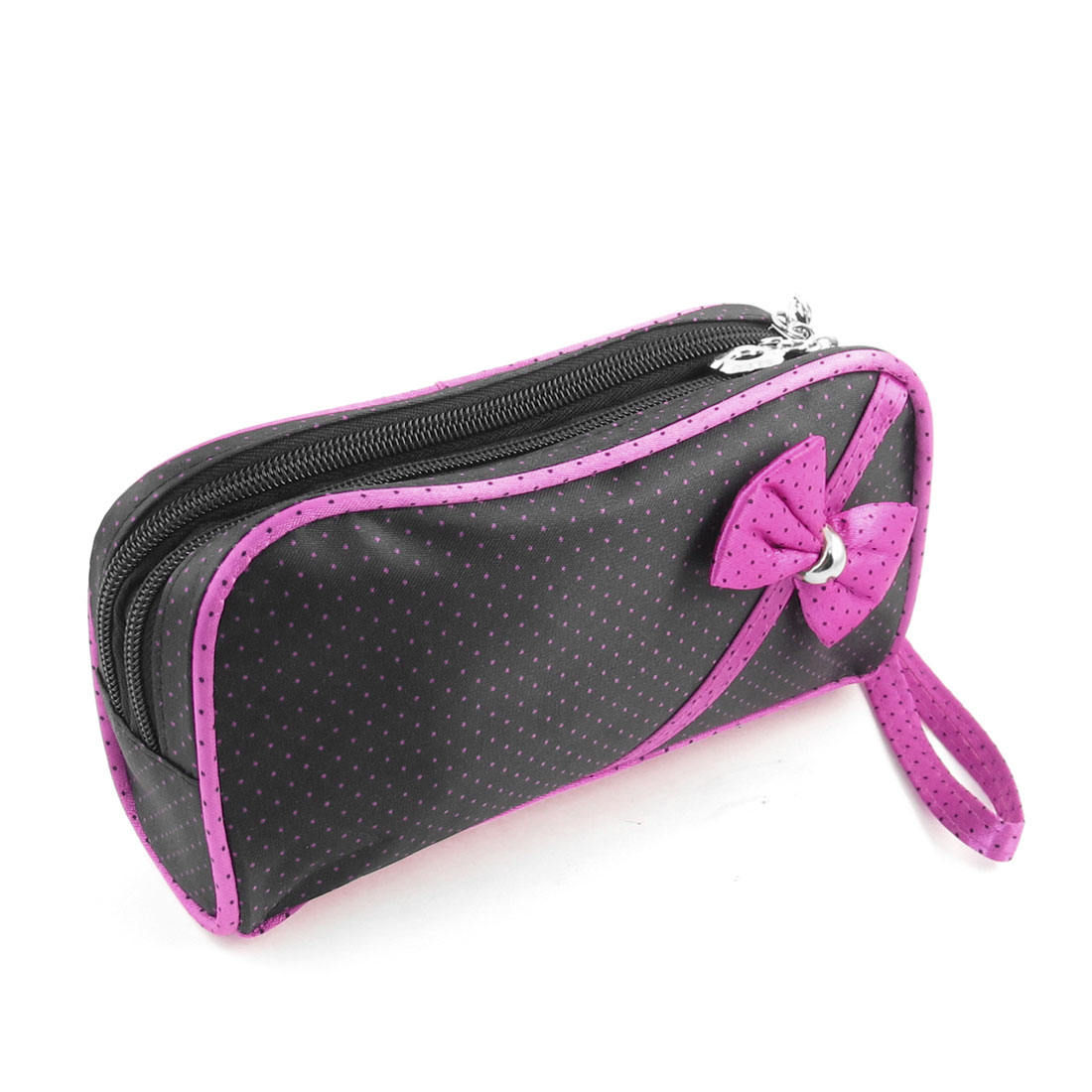Women Black Magenta Dots Pattern Cosmetic Bag Double Zippers Makeup Purse