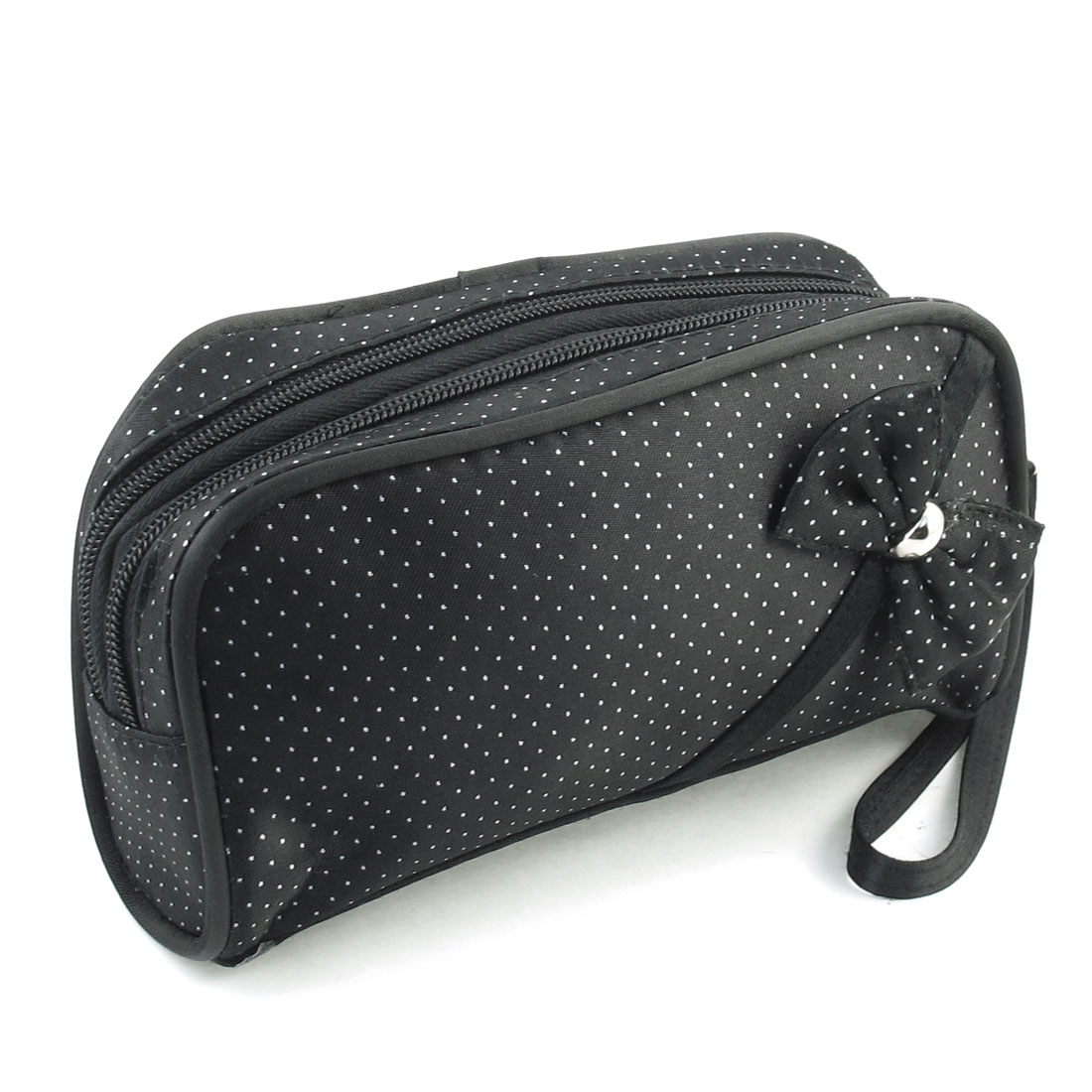 Dots Printed Makeup Cosmetic Bag Container w Hand Strap Black