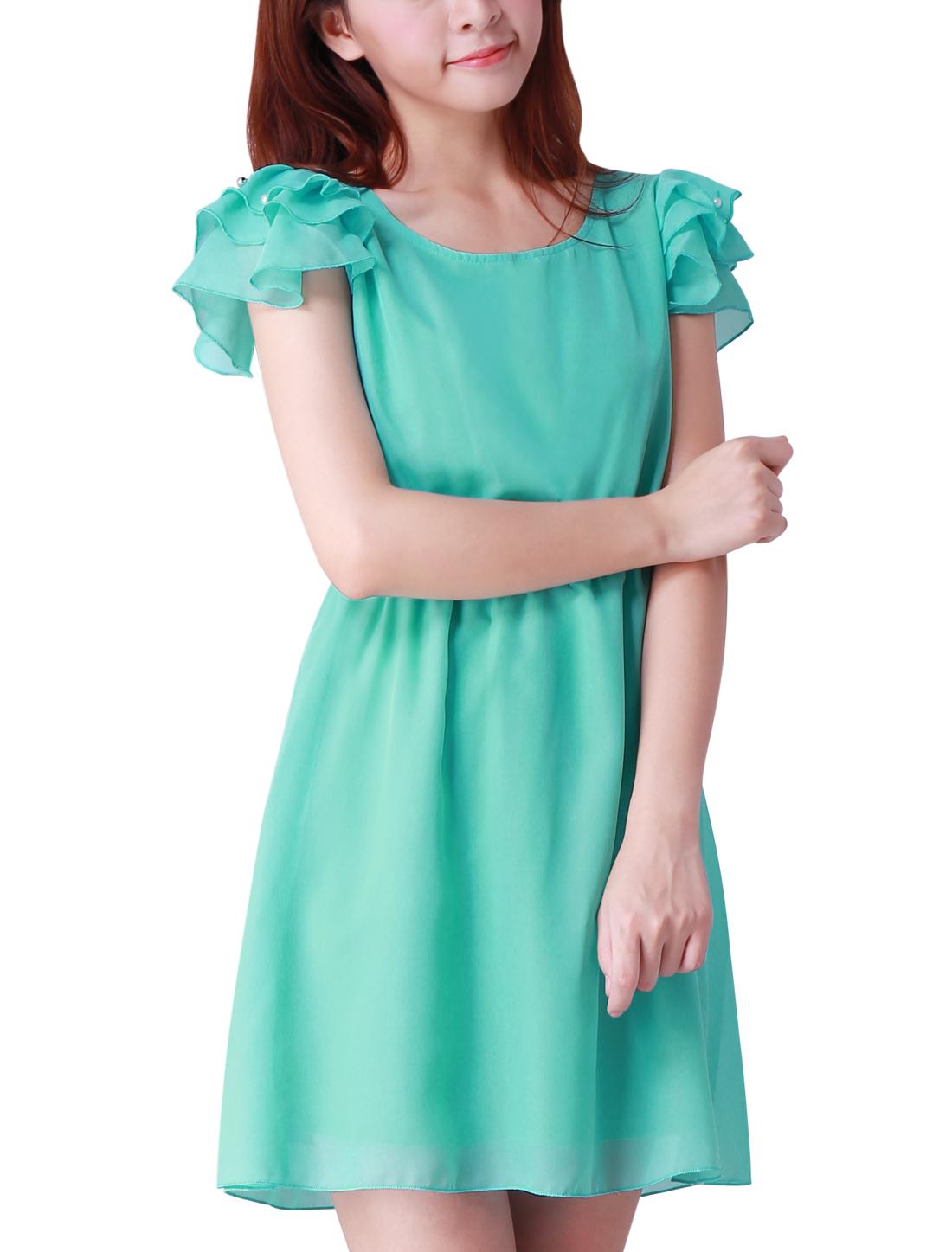 Beads Decor Short Sleeve Light Blue Mini Dress for Lady XL