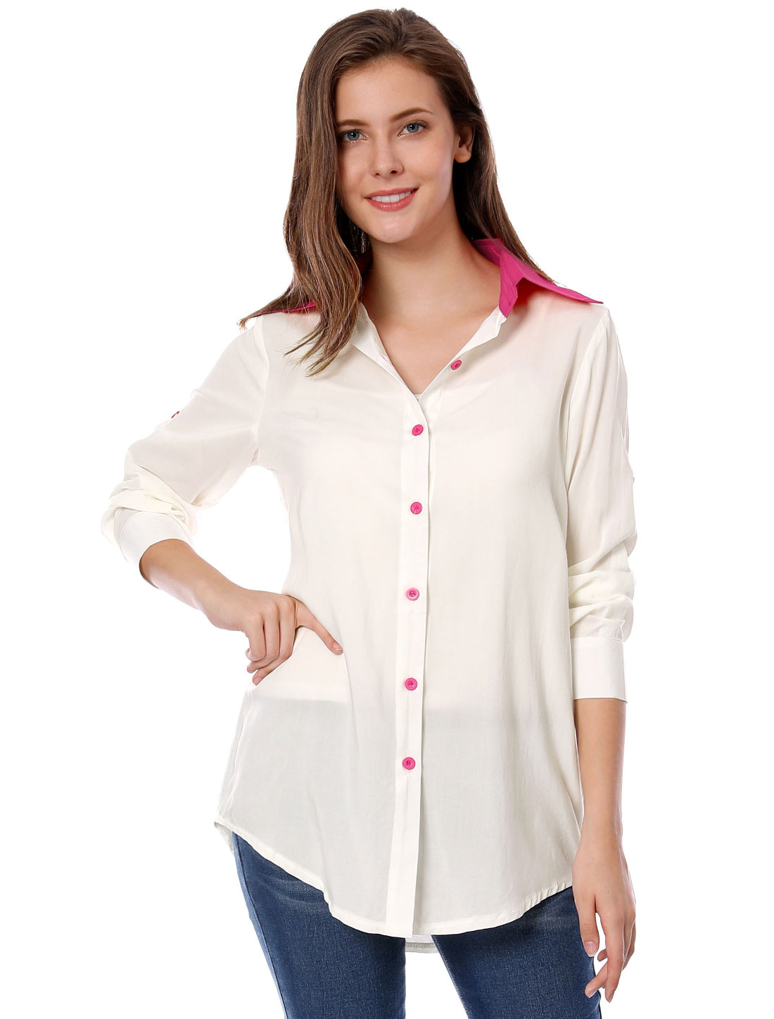 Woman Chic Fuchsia White Color Blocking Casual Button Down Shirt M